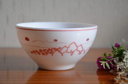 Bol en opaline à décor champêtre rose, marque Arcopal