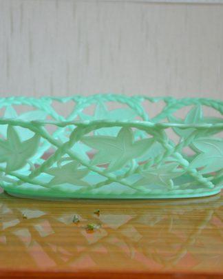 Panier à pain en plastique vintage de la marque clé, couleur verte.
