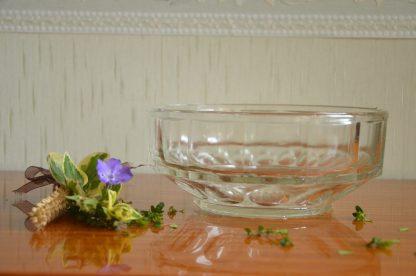 Petit saladier en verre transparent art déco lourd et massif, made in France