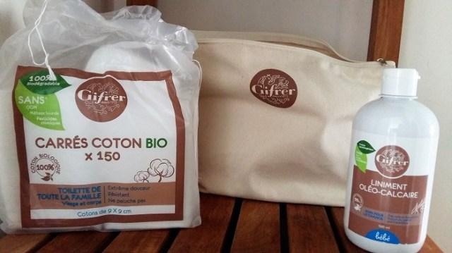 produits gifrer carré coton bio et liniment