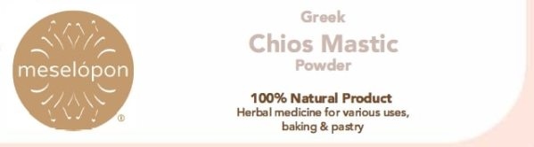 Chios Mastic Gum Mastiha Powder Pure Unprocessed Unrefined For Stomach Disorders, Digestive System, Pastry & Beauty Care. Front Label