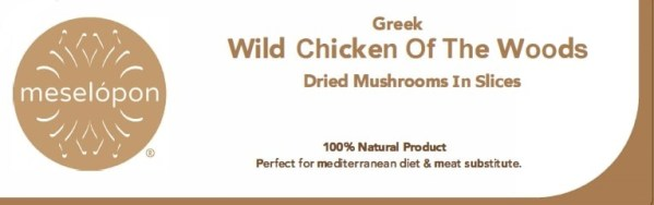 Dried Wild Chicken Of The Woods Mushrooms Fungi In Slices, Label