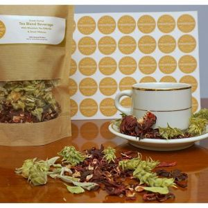 Herbal Loose Leaf Tea Blend Decaf Beverage With Mountain Tea Sideritis Ironwort & Hibiscus Flowers Blossoms