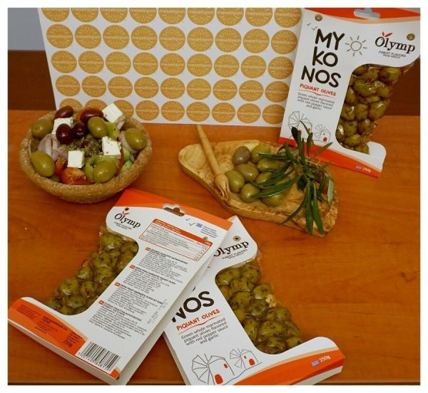 Olymp Mykonos Marinated Piquant Green Olives With Red Pepper Sauce & Garlic, In Vacuum Packs