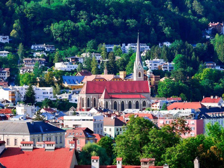 Vue sur les maisonnettes d'Innsbruck