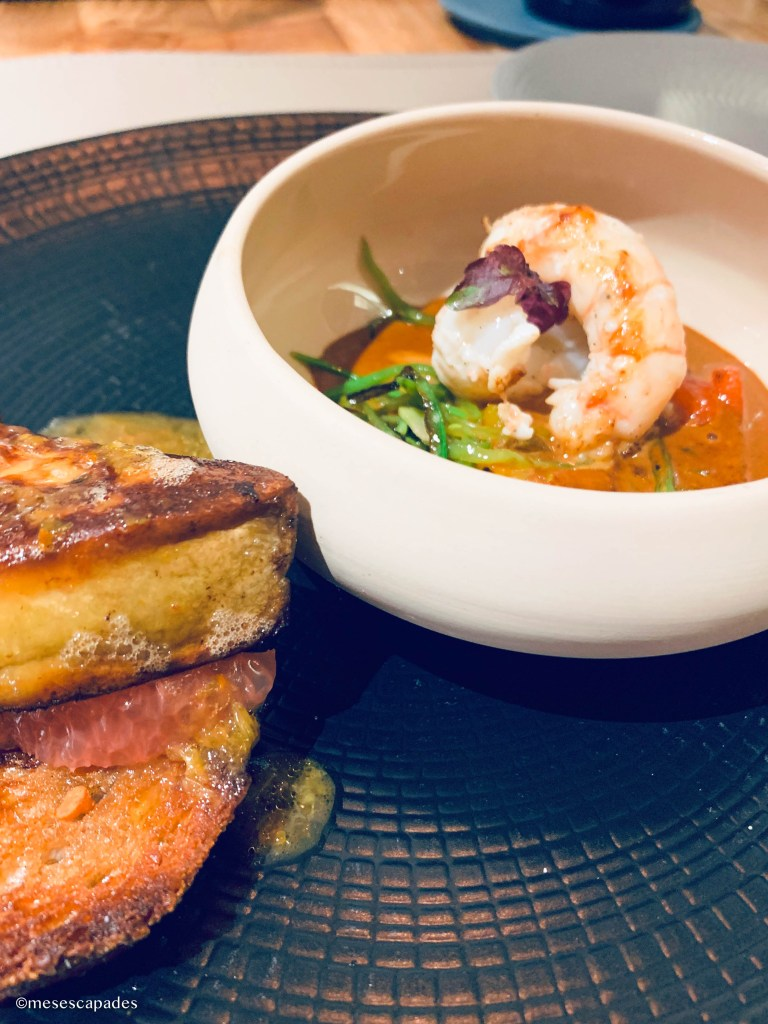 Foie gras poêlé et crevettes, La Calypso de Cabourg