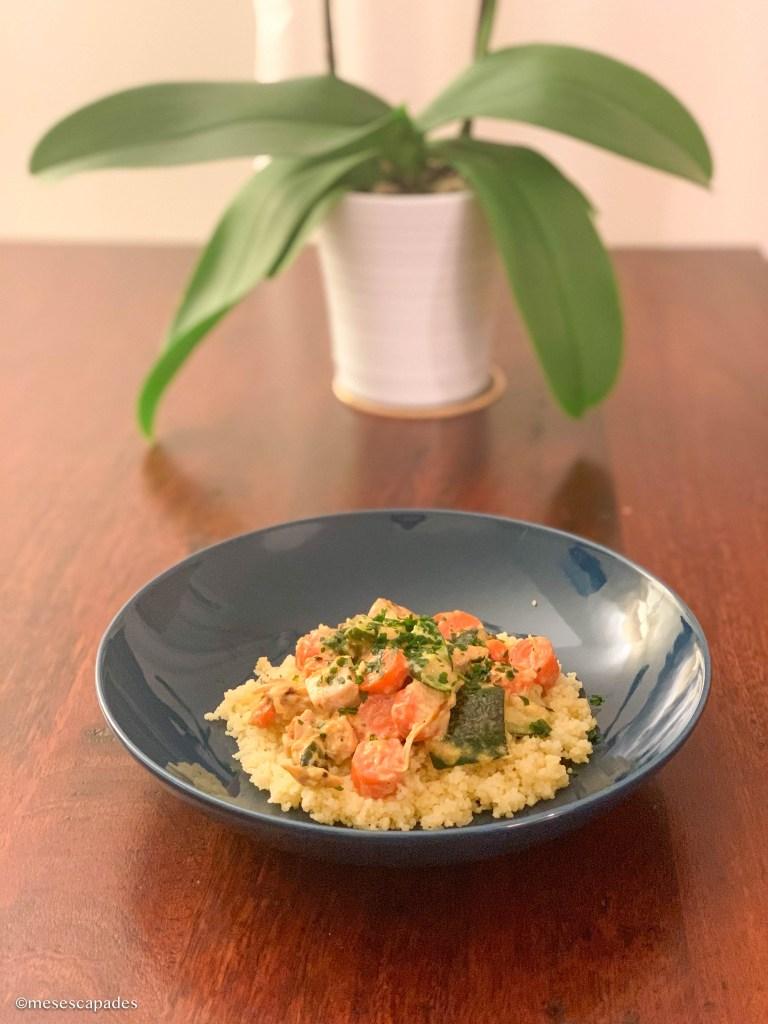 Wok carottes et courgettes, dinde et semoule, recette saine