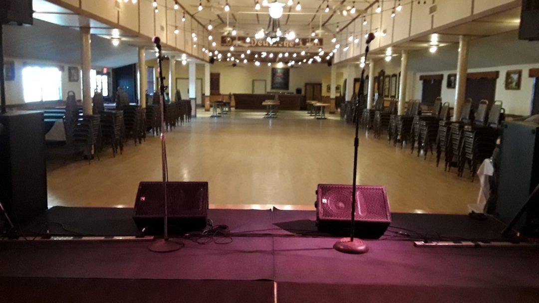 Meshed Up Monitors On Stage Saengerrunde Hall