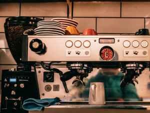 coffee machine placed near wall
