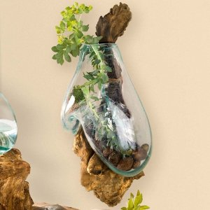 Molten Glass Hanging On Wood