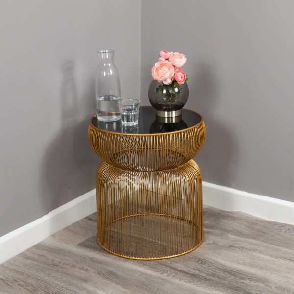 Gold Cage Side Table