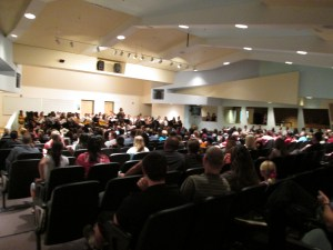 It was a packed auditorium last Thursday as friends and family of students in the school's guitar classes performed what they had learned throughout the year. Photo by Stephanie Frehner
