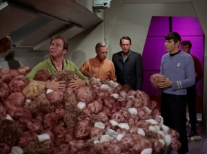 Screen shot from The Trouble with Tribbles and William Schallert with Star Trek crew.