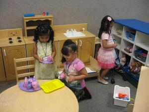Students having their first tea party together. Submitted photo.