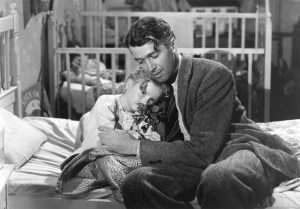 Karolyn Grimes with Jimmy Stewart in  It's a Wonderful Life.