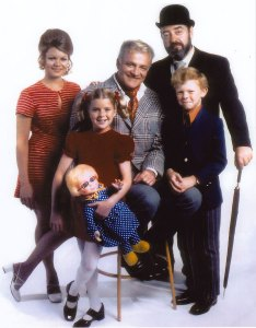 Family Affair cast. Back- Kathy Garver, Brian Keith, Sebastian Cabot. Front - Anissa Jones, Johnny Whitaker Photo provided by Kathy Garver.
