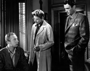 Norman Lloyd, Ingrid Bergman and Gregory Peck in a scene from Hitchcock's Spellbound (1945)