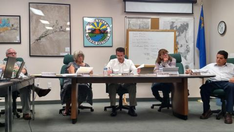 "Virgin Valley Water District Board Members from left to right, Rich Bowler, Sandra Ramaker, Nephi Julien, Barbara Ellestad and Robert ""Bubba"" Smith. MLN File photo."