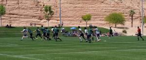Utah Valley University in green defending Colorado School of Mines, April 11 at the Mesquite Sports and Events Complex.