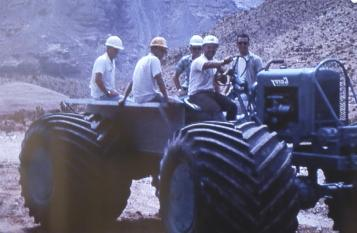 Crew with equipment used to navigate Virgin River