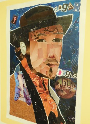 VVHS art history students portrayed a favorite artist in collage.   Here is French artist Edgar Degas.