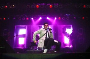 Elvis Tribute Artists are judged on several factors during the Elvis Rocks Mesquite Competition; one being movement.  Tribute artist Jacob Roman shows off his moves during the finals of the Elvis Rocks Mesquite Competition which was held in the Casablanca Showroom on June 20, 2015. Photo by Teri Nehrenz.