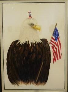 Let's Party says Karlynn Jones' bald eagle as he waves Old Glory. Submitted photo.