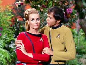 Celeste Yarnall and Walter Koenig in the Star Trek episode The Apple - Desilu Productions, NBC
