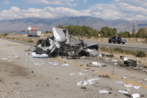 This is all that was left of the 2005 Jaguar Sunday afternoon. The collision was strong enough that it appears as though extrication measures were used, however, Captain John Gately stated that it was not necessary. Photo courtesy of Nevada Highway Patrol.