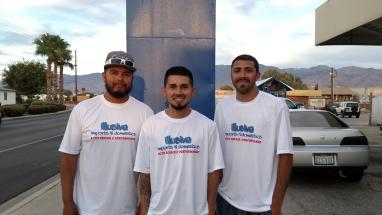"""From left are Victor Baltazar, Santiago Flores and Raul """"Junior"""" Flores, owners of Illusive Imports & Domestics, which is set to open Oct. 12. Photo by Stephanie Frehner."""