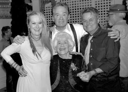Charlotte Rae with Meryl Streep, Kevin Kline and book co-author Larry Strauss on the set of  Rikki & The Flash