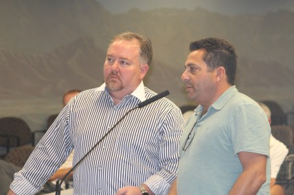Slade Smith, left and Andy Geller, both of 333 Eagles Landing Group presented their plans to the Mesquite City Council for developing land at I-15 Exit 118 they want to purchase from the city for a Travel Center. Photo by Barbara Ellestad.