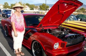 Susan Fuschetto of Mesquite shows off her recently purchased Mustang at the Eureka Casino Resort on Saturday, Oct. 24 as part of the annual Rotary Car Show and Chili Cook-off. Photo by Burton Weast.
