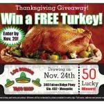 Los Rubios Taco Shop giving away 50 Turkeys