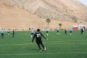 Mesquite's 12 year old soccer team in black uniforms played in the UYSA President's Cup tournament held at the Mesquite Sports and Events Center Jan. 8 an 9. Photo by Lou Martin.