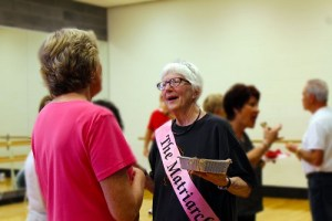 Mesquite Recreation Center members honor Rebecca Hartley.  Hartley has been teaching line dance at the Recreation Center for 10 years and has about 50 students.  Photo by Teri Nehrenz