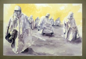 """Korean War Memorial Washing D.C."" is a watercolor painting by artist Carol Stenger. It's just one of the many works of art on display through the month of September for Mesquite's Fine Art Invitational. Photo by Teri Nehrenz"