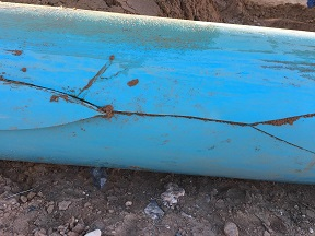 A faulty pipe broke and cracked due to several factors, none of which could be pinpointed as the sole culprit for a water outage to Sun City Monday afternoon, Oct. 17. Photo courtesy of VVWD.