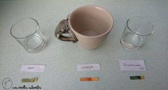 comparaison du pH du bicarbonate de soude et du vinaigre