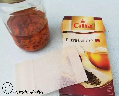 Pour filtrer un macérat, utilisez des filtres à thé