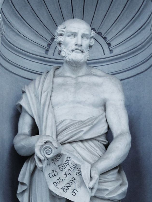 Statue of Theophrastus with Scroll, but no bottle.