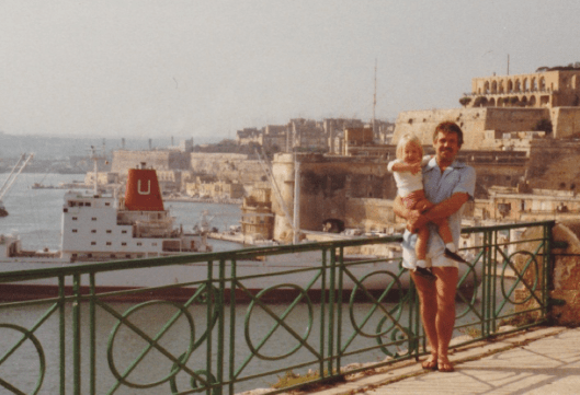Sammie and Kelvin Overlooking Grand Valetta Harbour 1983 Close Up