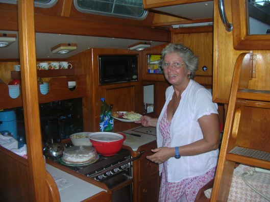 Chris cooking aboard Sara II.