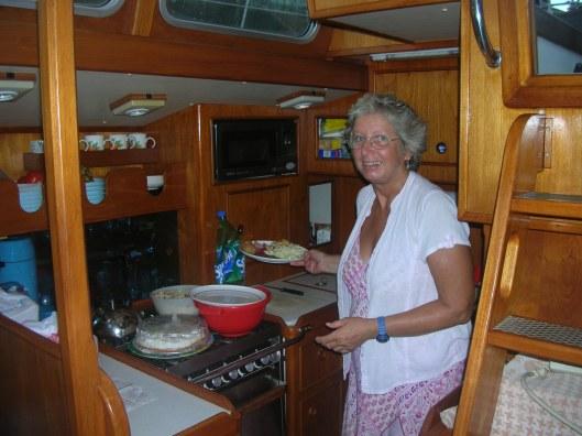 Chris cooking aboard Sara II.