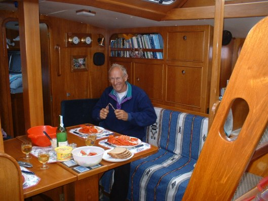 Dinner in the galley of Sara II.