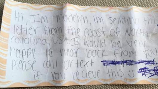 Madelyn Message in a Bottle found by Wyatt on Atlantic Beach - Credit Jenny Young