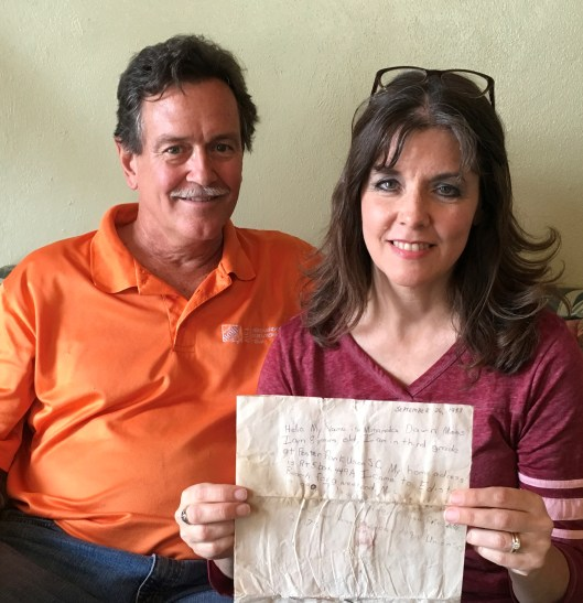 Linda and David Humphries with Miranda's 1988 Message in a Bottle