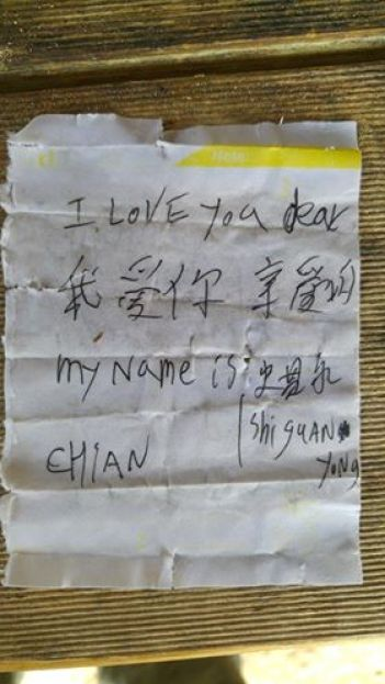 Chinese Message in a Bottle - Close up of message