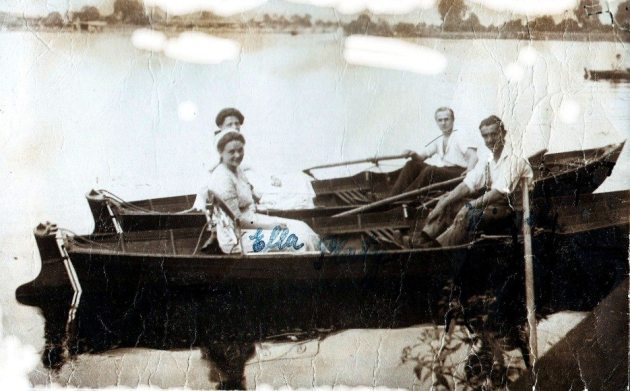 101 year old message in a bottle: Richard and Ella Platz rowing.