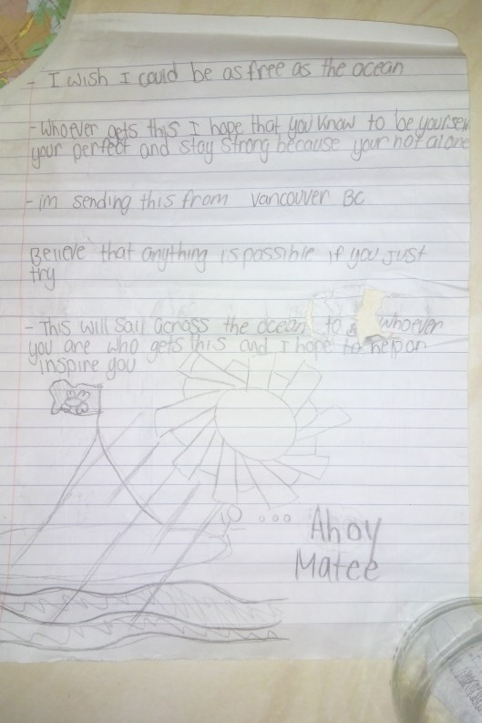 Canadian Boy's message in a bottle: Second page of Andrew Smith's message.